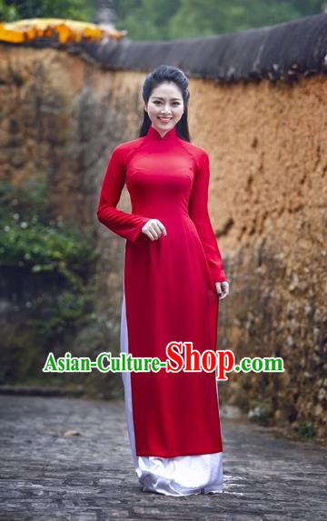 Traditional Top Grade Asian Vietnamese Dress, Vietnam National Female Handmade Ao Dai Dress Women Red Full Dress Ao Dai Cheongsam and Loose Pants Complete Set