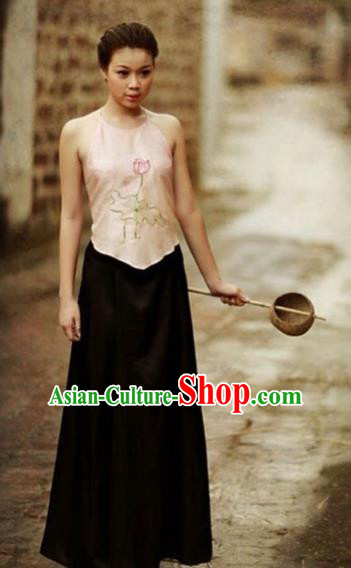 Traditional Top Grade Asian Vietnamese Costumes, Vietnam National Female Handmade Ao Dai Pink Bellyband for Women