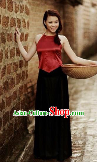 Traditional Top Grade Asian Vietnamese Costumes, Vietnam National Female Handmade Ao Dai Red Bellyband for Women
