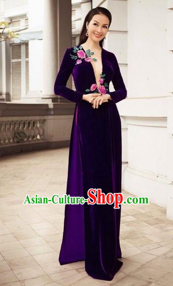 Traditional Top Grade Asian Vietnamese Costumes Dance Dress, Vietnam National Female Embroidered Ao Dai Dress Cheongsam Clothing for Women