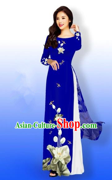 Traditional Top Grade Asian Vietnamese Costumes Full Dress, Vietnam National Ao Dai Dress Printing Flowers Round Collar Royalblue Qipao for Women
