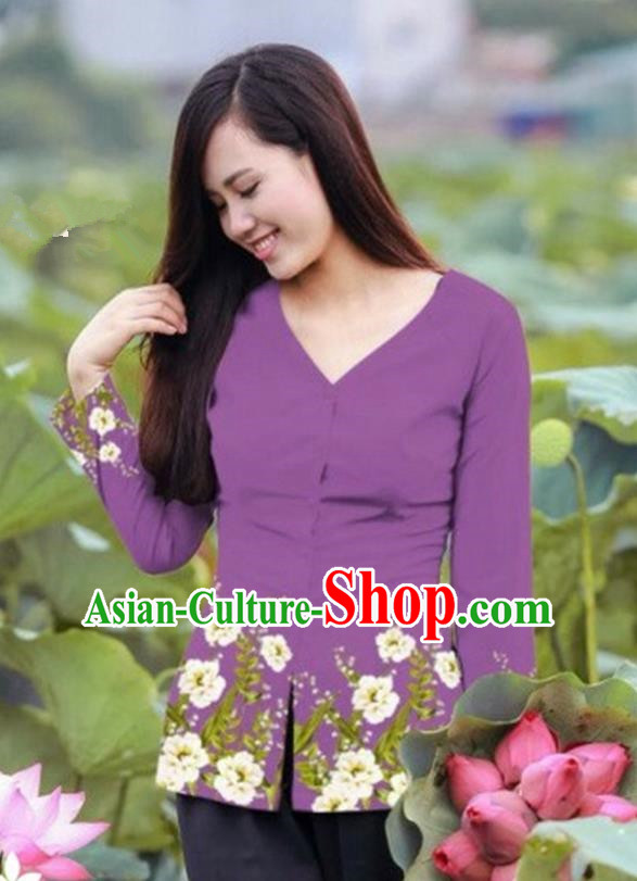 Traditional Top Grade Asian Vietnamese Costumes, Vietnam National Ao Dai Printing Purple Blouse for Women