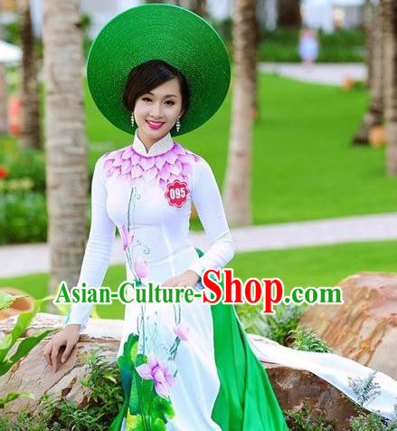 Traditional Top Grade Asian Vietnamese Costumes Classical Printing Lotus Full Dress, Vietnam National Ao Dai Dress White Qipao for Women
