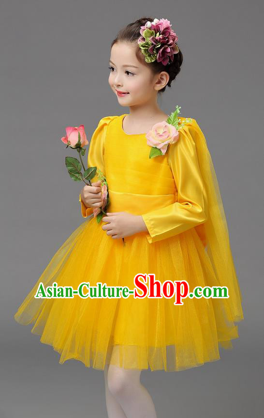 Top Grade Professional Performance Catwalks Costume, Children Chorus Compere Full Dress Modern Dance Little Princess Yellow Veil Bubble Dress for Girls Kids
