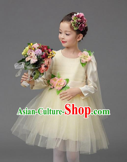 Top Grade Professional Performance Catwalks Costume, Children Chorus Compere Full Dress Modern Dance Little Princess Beige Veil Bubble Dress for Girls Kids