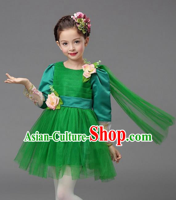 Top Grade Professional Performance Catwalks Costume, Children Chorus Compere Full Dress Modern Dance Little Princess Green Veil Bubble Dress for Girls Kids