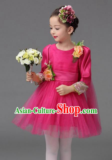 Top Grade Professional Performance Catwalks Costume, Children Chorus Compere Full Dress Modern Dance Little Princess Rose Veil Bubble Dress for Girls Kids