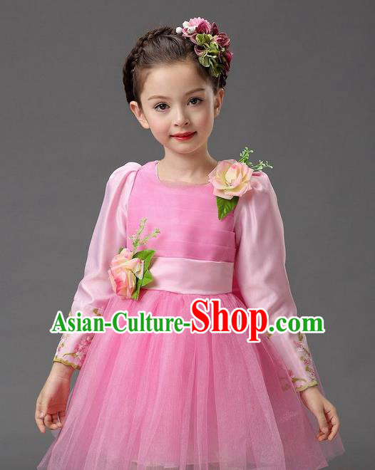 Top Grade Professional Performance Catwalks Costume, Children Chorus Compere Full Dress Modern Dance Little Princess Pink Veil Bubble Dress for Girls Kids