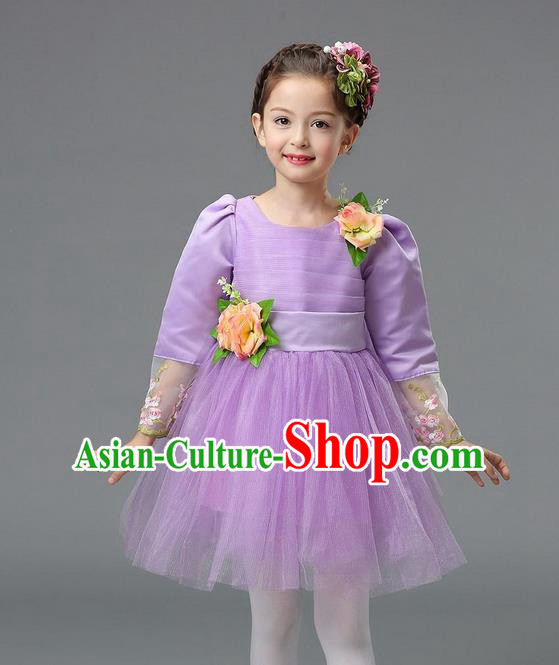 Top Grade Professional Performance Catwalks Costume, Children Chorus Compere Full Dress Modern Dance Little Princess Purple Veil Bubble Dress for Girls Kids