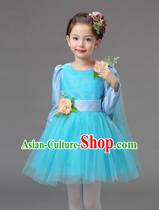 Top Grade Professional Performance Catwalks Costume, Children Chorus Compere Full Dress Modern Dance Little Princess Light Blue Veil Bubble Dress for Girls Kids