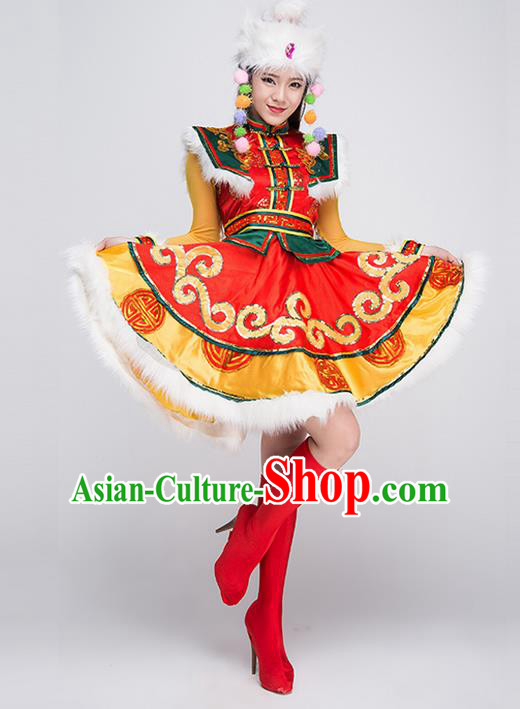 Traditional Chinese Mongol Nationality Dancing Costume, Mongols Female Ethnic Pleated Skirt, Chinese Mongolian Minority Nationality Embroidery Costume for Women