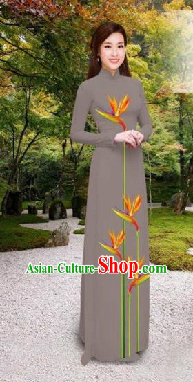 Traditional Top Grade Asian Vietnamese Costumes Classical Printing Long Cheongsam, Vietnam National Vietnamese Princess Bride Grey Ao Dai Dress