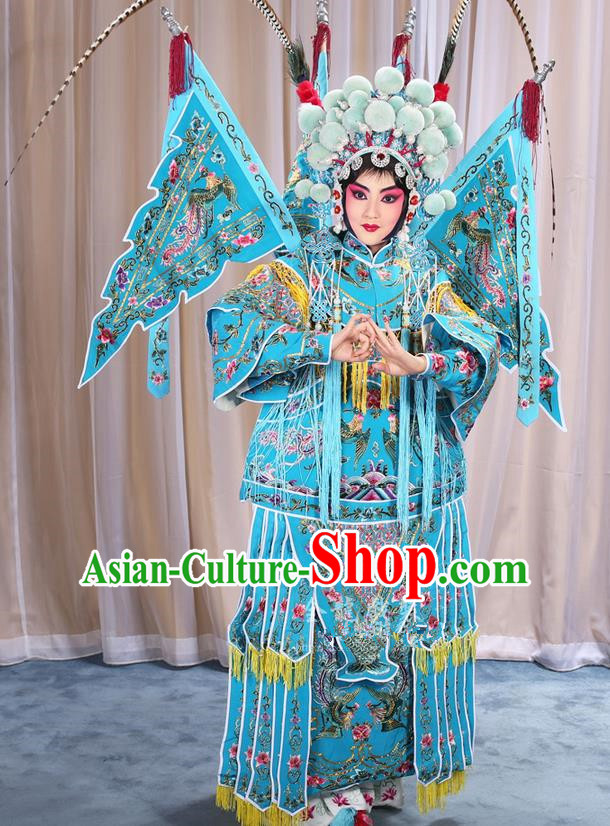 Traditional Chinese Beijing Opera Magic Warriors Blue Clothing and Shoes Complete Set, China Peking Opera Blues Costume Embroidered Robe Opera Costumes