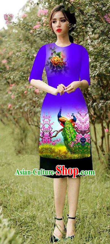 Top Grade Asian Vietnamese Costumes Classical Jing Nationality Peacock Pattern Short Cheongsam, Vietnam National Clothing Bride Traditional Purple Ao Dai Dress