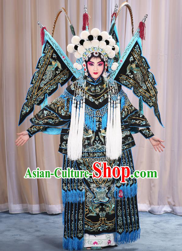 Traditional Chinese Beijing Opera Magic Warriors Black Mu Guiying Clothing and Shoes Complete Set, China Peking Opera Blues Costume Embroidered Robe Opera Costumes