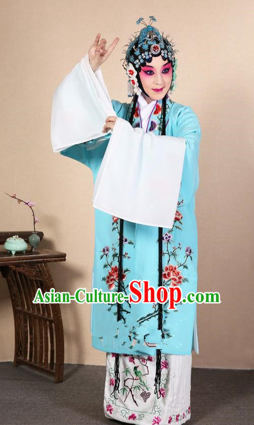 Traditional Chinese Beijing Opera Huangmei Opera Female Blue Clothing and Headwear Complete Set, China Peking Opera Diva Role Hua Tan Costume Embroidered Opera Costumes