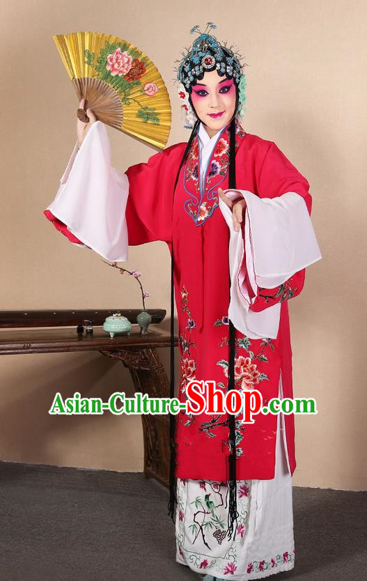 Traditional Chinese Beijing Opera Huangmei Opera Female Rosy Clothing and Headwear Complete Set, China Peking Opera Diva Role Hua Tan Costume Embroidered Opera Costumes