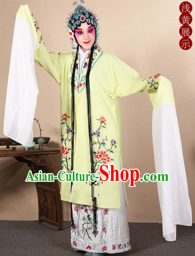 Traditional Chinese Beijing Opera Huangmei Opera Female Yellow Clothing and Headwear Complete Set, China Peking Opera Diva Role Hua Tan Costume Embroidered Opera Costumes