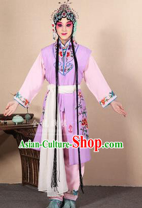 Traditional Chinese Beijing Opera Shaoxing Opera Young Female Purple Vest Clothing Complete Set, China Peking Opera Diva Role Hua Tan Costume Embroidered Opera Costumes