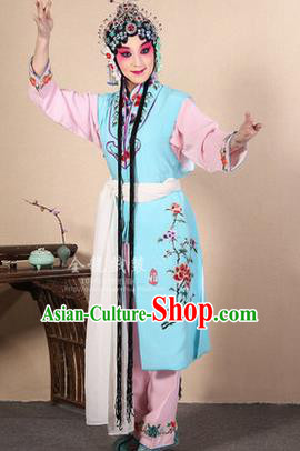 Traditional Chinese Beijing Opera Shaoxing Opera Young Female Light Blue Vest Clothing Complete Set, China Peking Opera Diva Role Hua Tan Costume Embroidered Opera Costumes