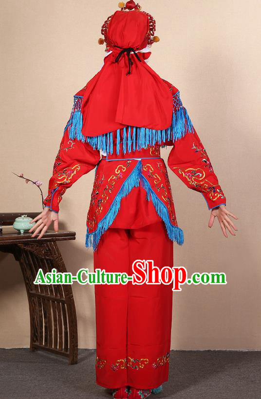 Traditional Chinese Beijing Opera Shaoxing Opera Magic Warriors Red Clothing and Shoes Complete Set, China Peking Opera Women Pawn Dress Costume Embroidered Opera Costumes