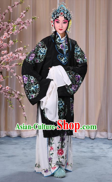 Traditional Chinese Beijing Opera Shaoxing Opera Young Female Black Clothing and Headwear Shoes Complete Set, China Peking Opera Diva Role Hua Tan Costume Embroidered Opera Bride Costumes