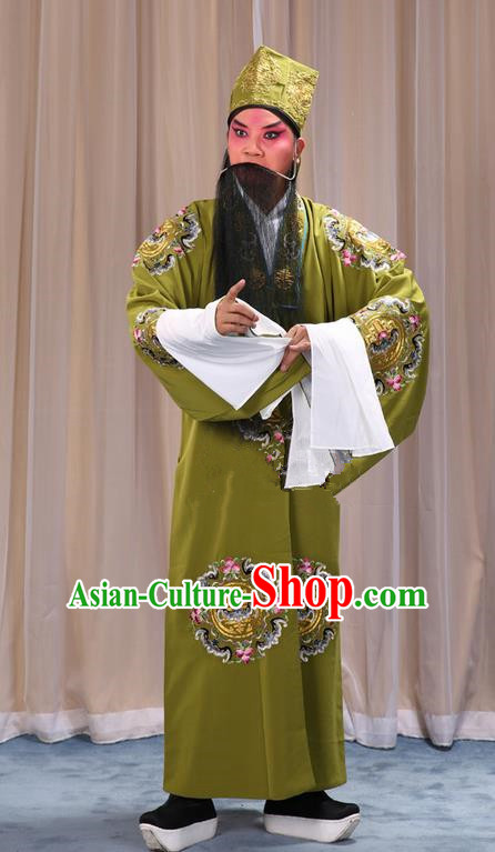 Traditional Chinese Beijing Opera Old Male Landlord Green Clothing and Headwear Boots Complete Set, China Peking Opera Laosheng-role Costume Ministry Councillor Embroidered Clothing Opera Costumes