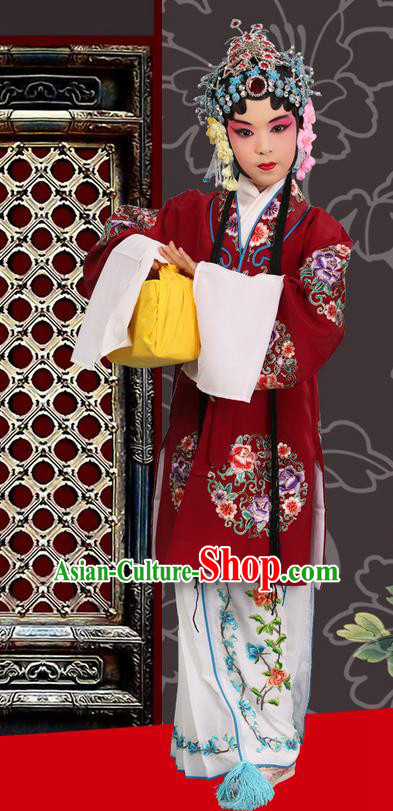 Traditional Chinese Beijing Opera Young Female Purple Red Clothing and Headwear Shoes Complete Set, China Peking Opera Diva Role Hua Tan Costume Mu Guiying Embroidered Opera Costumes for Kids