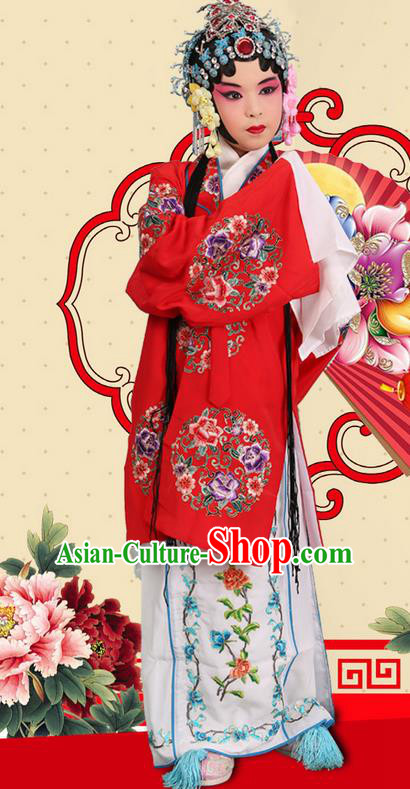 Traditional Chinese Beijing Opera Young Female Red Clothing and Headwear Shoes Complete Set, China Peking Opera Diva Role Hua Tan Costume Mu Guiying Embroidered Opera Costumes for Kids