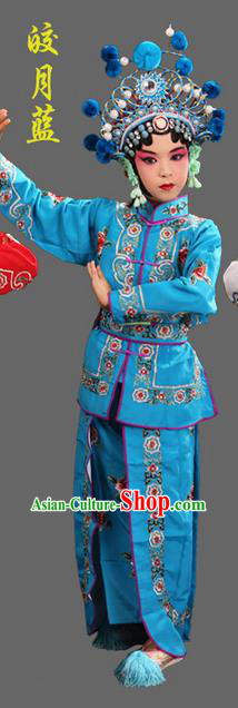 Traditional Chinese Beijing Opera Magic Warriors Blue Clothing and Shoes Complete Set, China Peking Opera Women Pawn Dress Costume Embroidered Opera Costumes for Kids