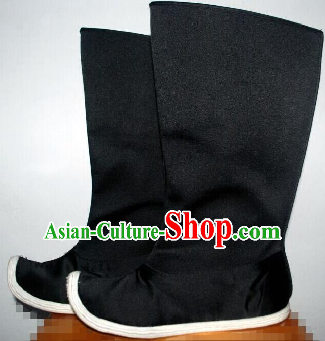 Traditional Chinese Peking Opera Shoes, China Ancient Eunuch Boots, Chinese Qing Dynasty Minister Black Become Warped Head Boots for Men