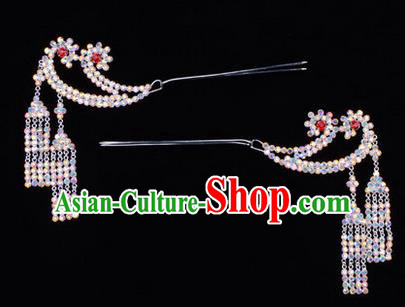 Chinese Ancient Peking Opera Hair Accessories Young Lady Headwear, Traditional Chinese Beijing Opera Head Ornaments Hua Tan Colorful Crystal Hairpins