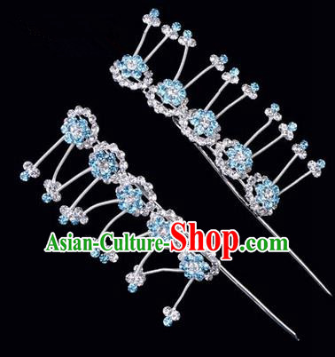 Chinese Ancient Peking Opera Hair Accessories Young Lady Headwear, Traditional Chinese Beijing Opera Head Ornaments Hua Tan Plum Blossom Blue Crystal Hairpins