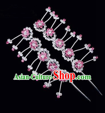 Chinese Ancient Peking Opera Hair Accessories Young Lady Headwear, Traditional Chinese Beijing Opera Head Ornaments Hua Tan Plum Blossom Pink Crystal Hairpins
