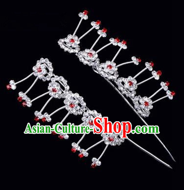 Chinese Ancient Peking Opera Hair Accessories Young Lady Headwear, Traditional Chinese Beijing Opera Head Ornaments Hua Tan Plum Blossom Crystal Hairpins