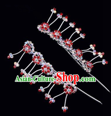 Chinese Ancient Peking Opera Hair Accessories Young Lady Headwear, Traditional Chinese Beijing Opera Head Ornaments Hua Tan Plum Blossom Colorful Red Crystal Hairpins