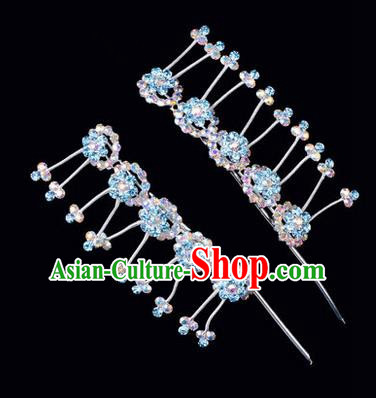 Chinese Ancient Peking Opera Hair Accessories Young Lady Headwear, Traditional Chinese Beijing Opera Head Ornaments Hua Tan Plum Blossom Colorful Blue Crystal Hairpins