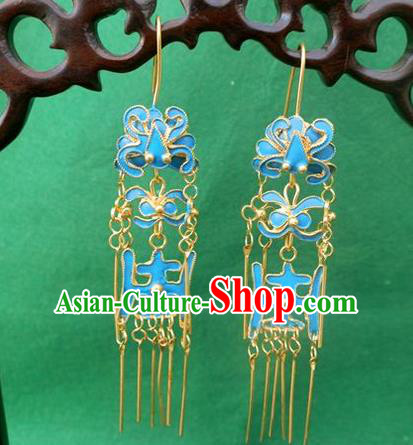 Traditional Handmade Chinese Ancient Classical Earrings Accessories Longevity Lotus Eardrop for Women