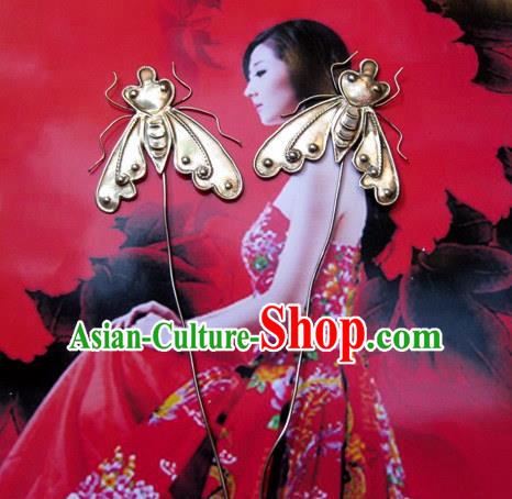 Traditional Handmade Chinese Ancient Classical Hair Accessories Barrettes Manchu Hairpin, Hanfu Hair Sticks Twain Headwear Hairpins for Women