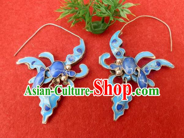 Traditional Handmade Chinese Ancient Classical Jewelry Accessories, China Hanfu Blueing Phoenix Earrings Ornament for Women