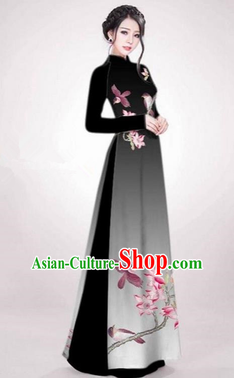 Top Grade Asian Vietnamese Traditional Dress, Vietnam Ao Dai Dress Black Cheongsam Clothing for Women