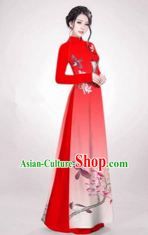 Top Grade Asian Vietnamese Traditional Dress, Vietnam Ao Dai Dress Red Cheongsam Clothing for Women
