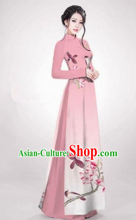 Top Grade Asian Vietnamese Traditional Dress, Vietnam Ao Dai Dress Pink Cheongsam Clothing for Women