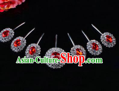 Chinese Ancient Peking Opera Hair Accessories Young Lady Seven stars Headwear, Traditional Chinese Beijing Opera Head Ornaments Hua Tan Red Crystal Hairpins