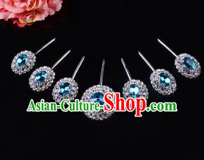 Chinese Ancient Peking Opera Hair Accessories Young Lady Seven stars Headwear, Traditional Chinese Beijing Opera Head Ornaments Hua Tan Blue Crystal Hairpins