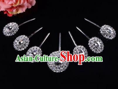 Chinese Ancient Peking Opera Hair Accessories Young Lady Seven stars Headwear, Traditional Chinese Beijing Opera Head Ornaments Hua Tan White Crystal Hairpins