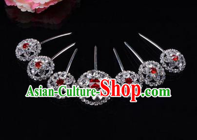 Chinese Ancient Peking Opera Hair Accessories Young Lady Headwear, Traditional Chinese Beijing Opera Head Ornaments Hua Tan Red Crystal Hairpins Complete Set