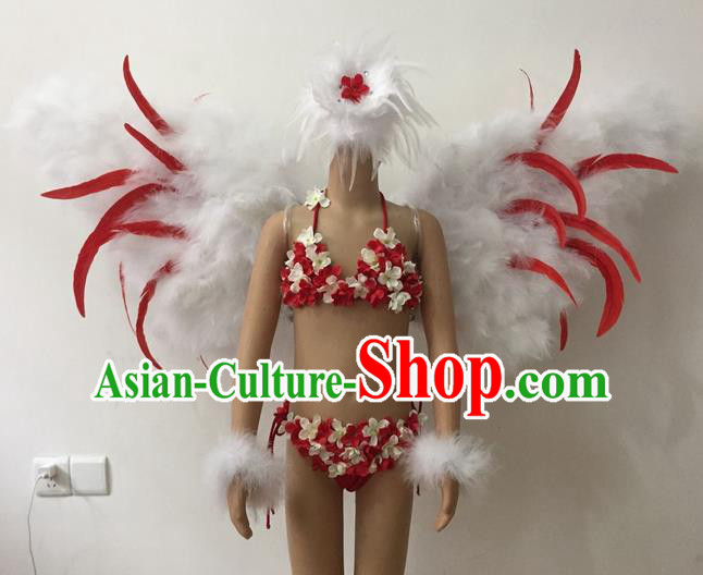 Top Grade Professional Performance Catwalks Bikini Swimsuit with Wings, Traditional Brazilian Rio Carnival Samba Modern Fancywork Feather Clothing for Kids