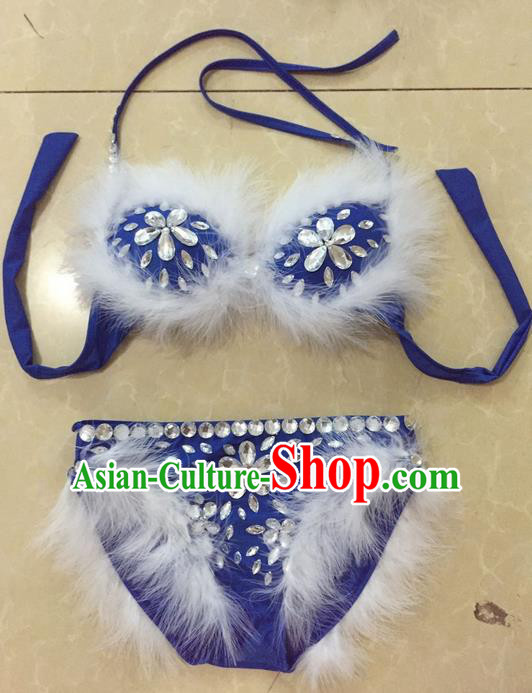 Top Grade Professional Performance Catwalks Bikini Swimsuit, Traditional Brazilian Rio Carnival Samba Modern Fancywork Blue Feather Clothing for Women