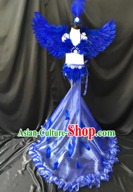 Top Grade Professional Performance Catwalks Bikini Costume and Headpiece, Traditional Brazilian Rio Carnival Samba Modern Fancywork Blue Swimsuits Clothing for Women